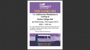 Call Connect Bus Service Roadshow in Seaton Village Hall
